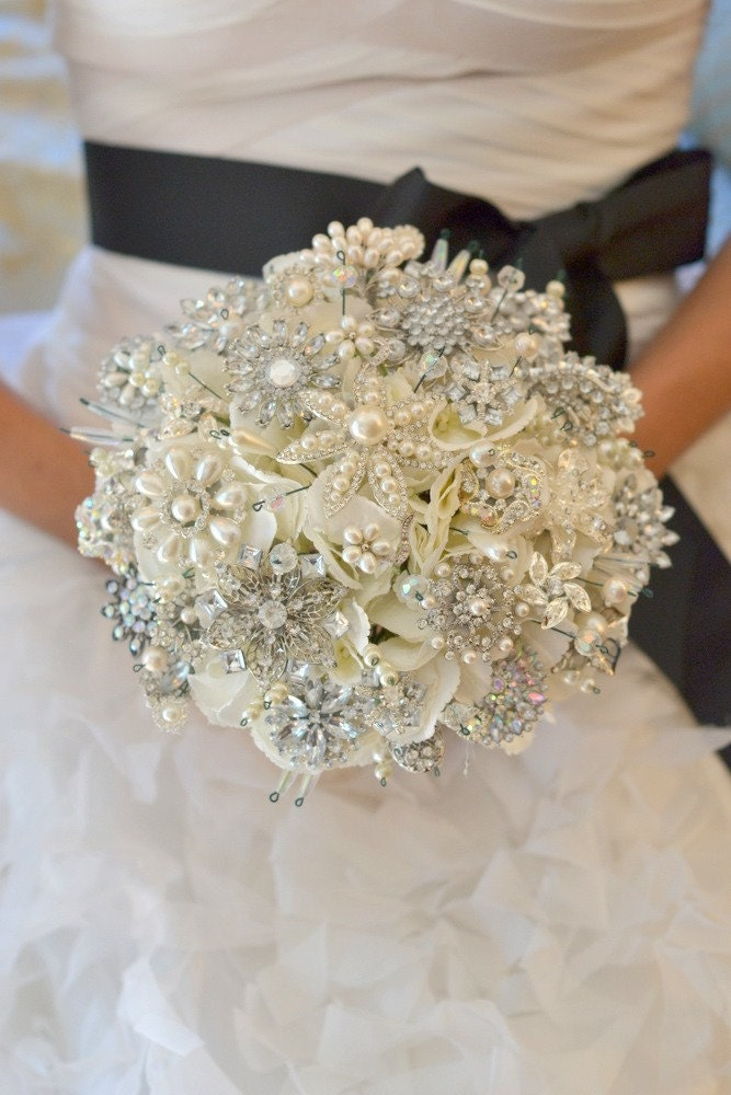 Deposit for classic heirloom pearl brooch bouquet -- made to order