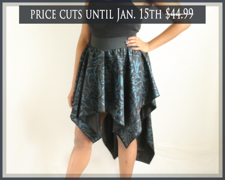 items similar to black and blue handkerchief skirt mullet