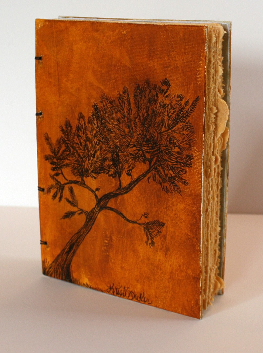 Coptic Bound Journal with Original painting of a Shore Pine Tree