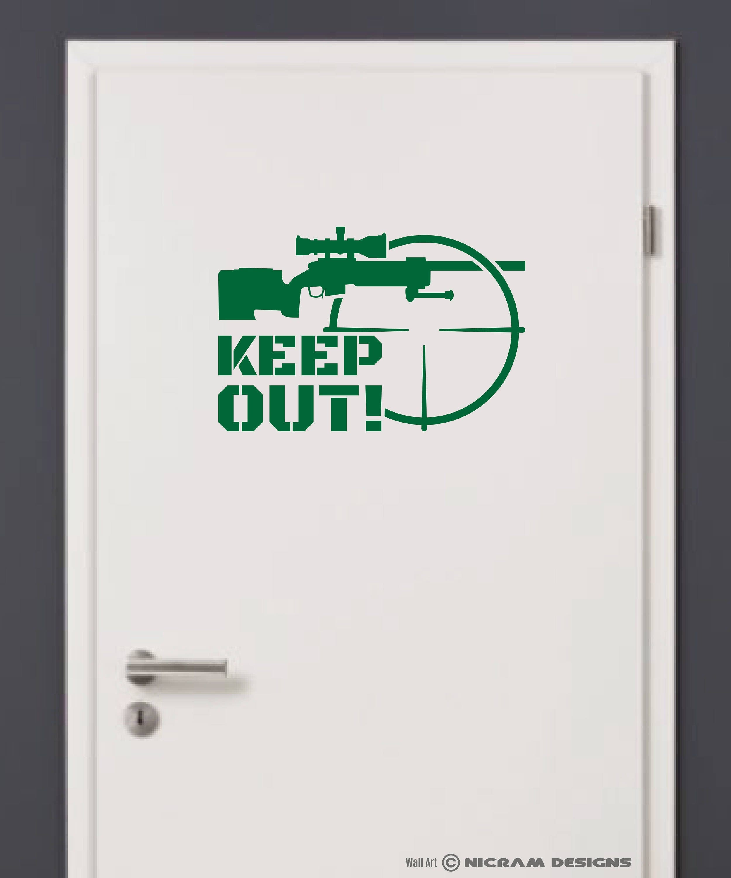 KEEP OUT Sniper Rifle Warning Sign Wall Art Vinyl Military Decal Crosshair