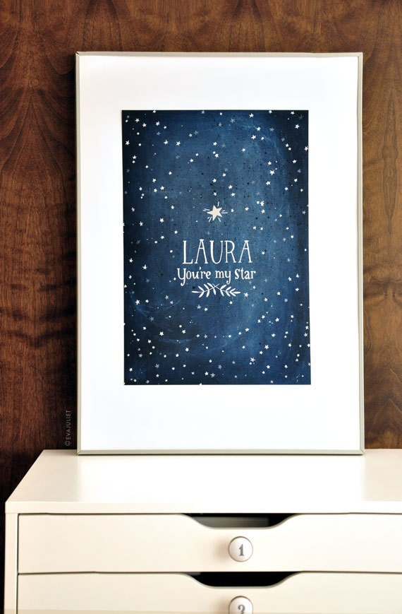 You're My STAR - Glow in the dark - Personalized print - 13x19 poster