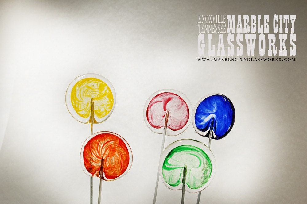 Hand Blown Glass Lolly Pops Multi-Color Set of 5