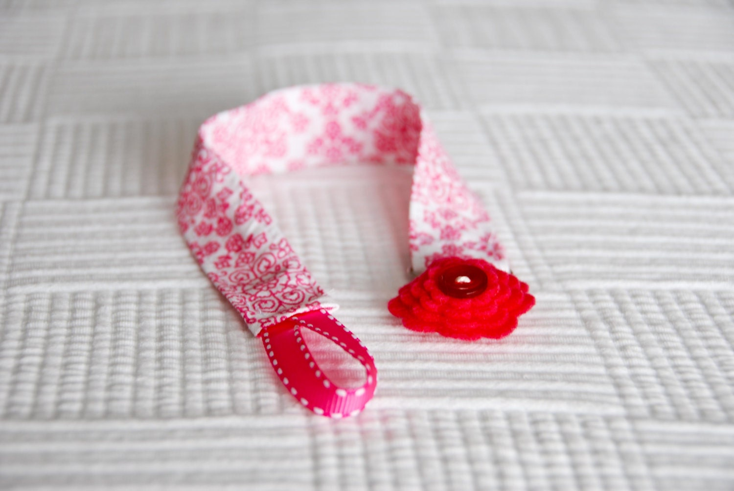 Pink Fabric Paci Clip with Felt Button Flower