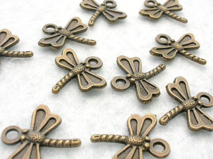 SALE - Dragonfly Charm Beads in Antique Bronze