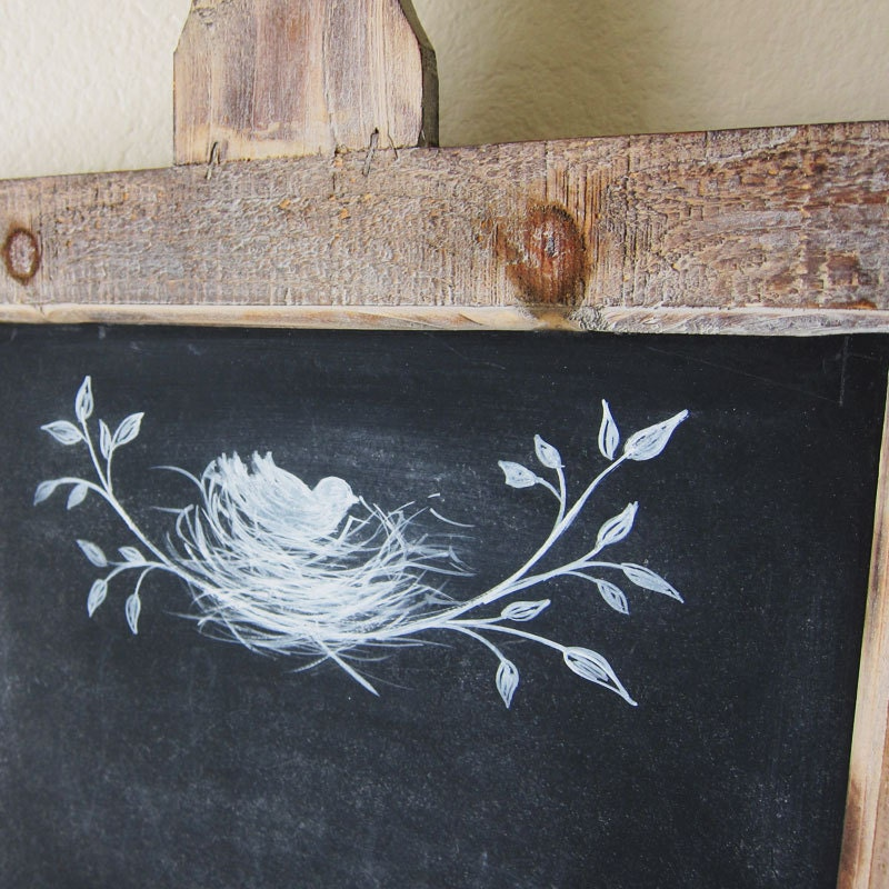 Farmhouse Chalkboard Rustic French Country Hand Painted Bird and Nest Kitchen