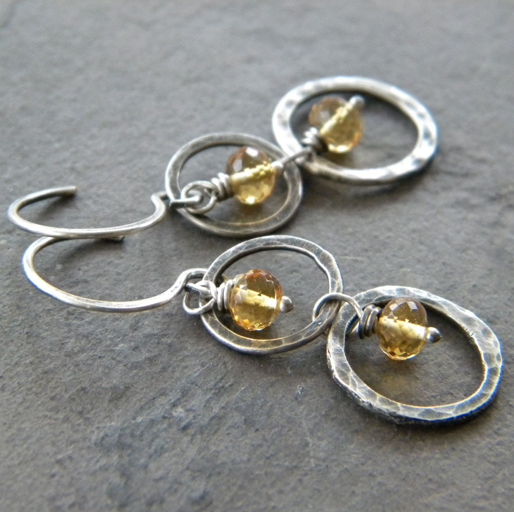 Citrine, Fine Sterling Silver Rings, Oxidized - Earrings