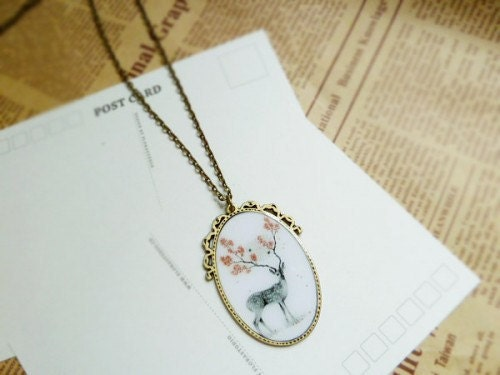 Personalized gifts vintage hand time deer stones necklace