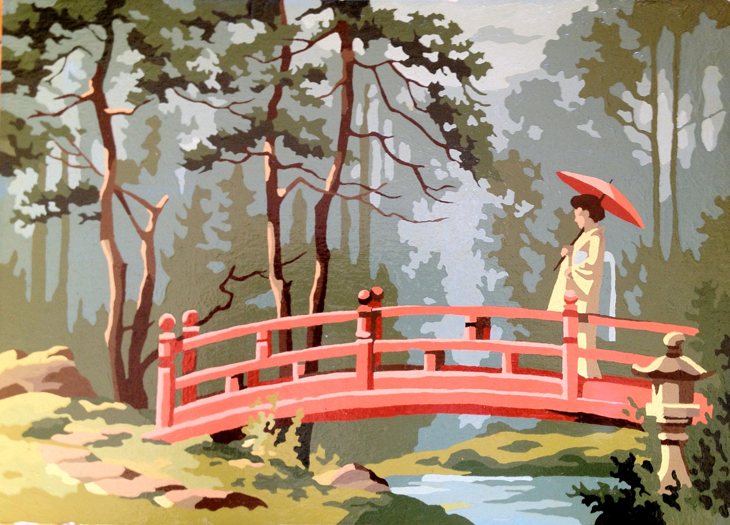 Vintage Paint by Numbers Oriental Garden Painting