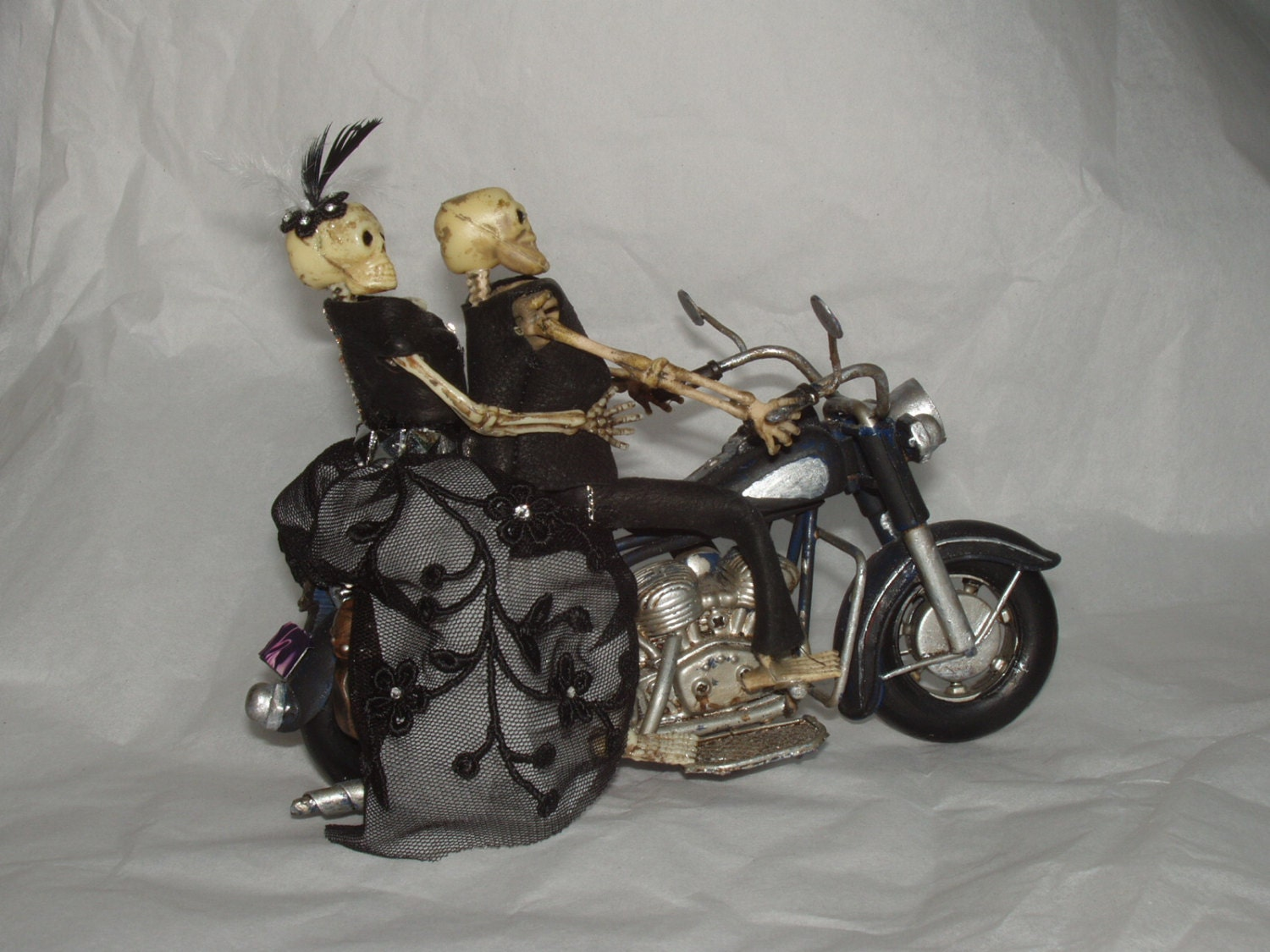 Motorcycle Wedding Cake Topper by purplemadison on Etsy