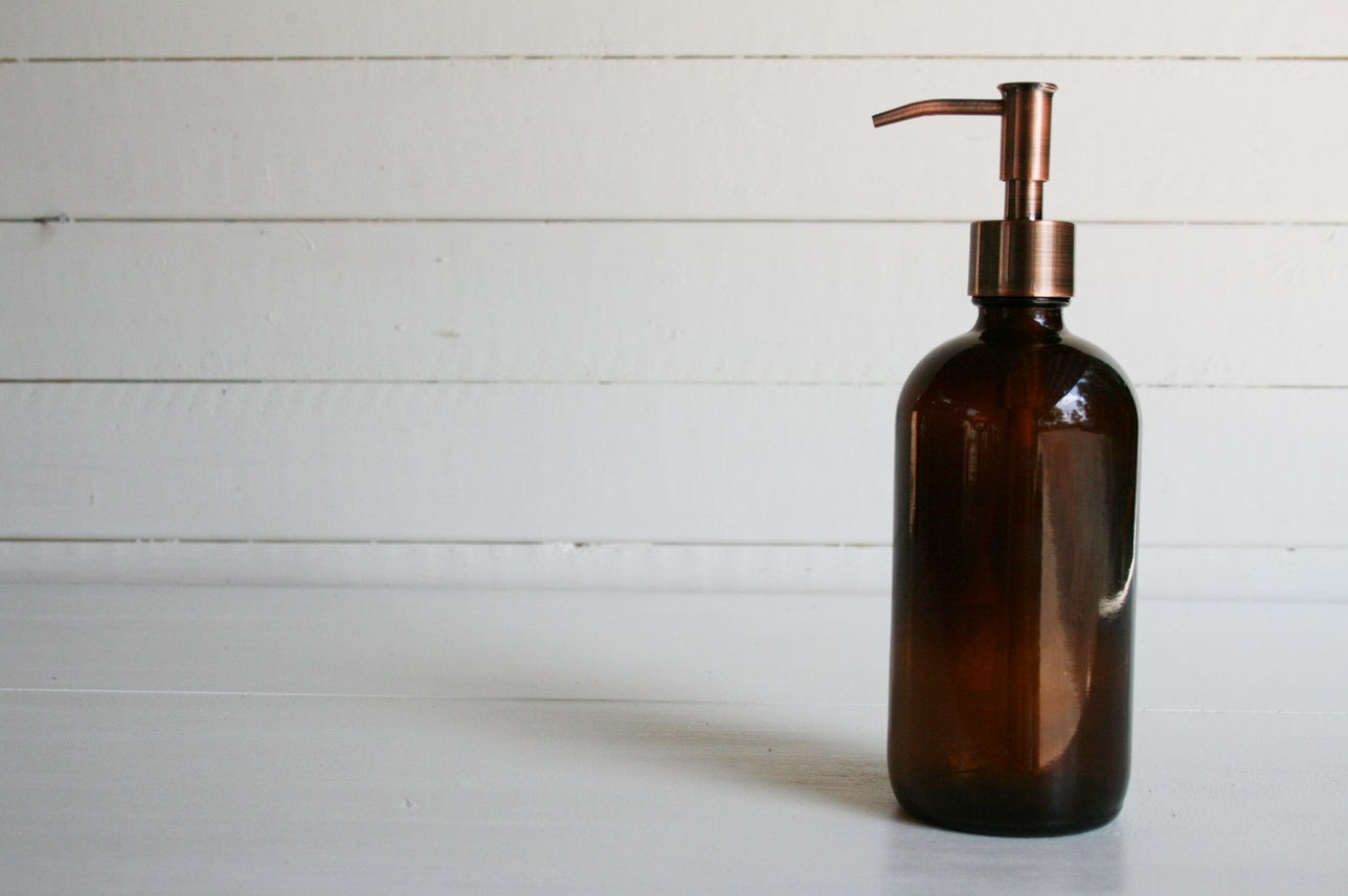 Amber Glass Apothecary Style Soap Dispenser - Rail19