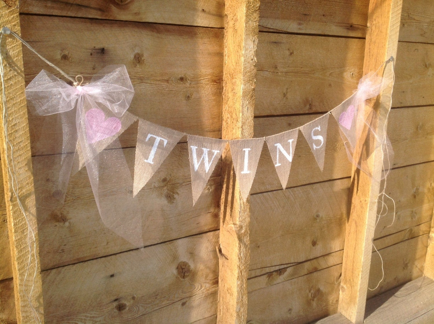 twins burlap banner in white lettering baby shower banner photo prop