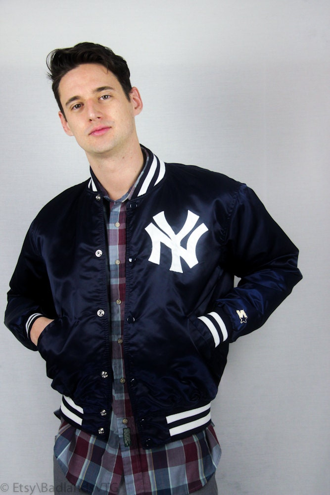 1980s Mens Ny Yankees Bomber Jacket By Starter Sz L By