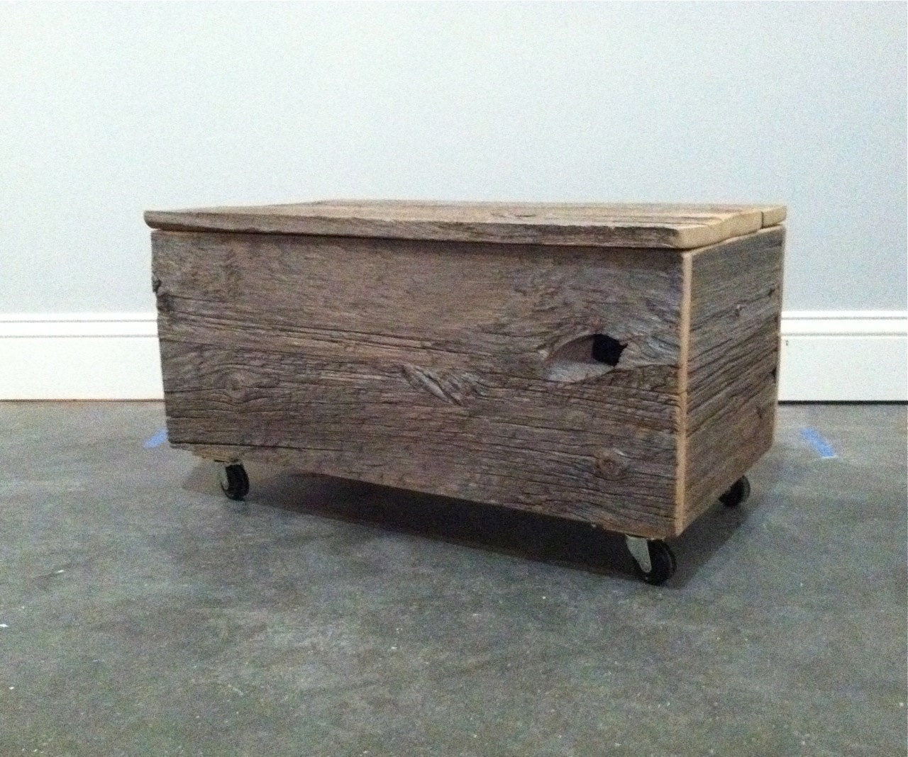 Superb img of wood trunk on wheels ottoman / coffee table/ toolbox by FORTRESSco with #4B6180 color and 1280x1068 pixels