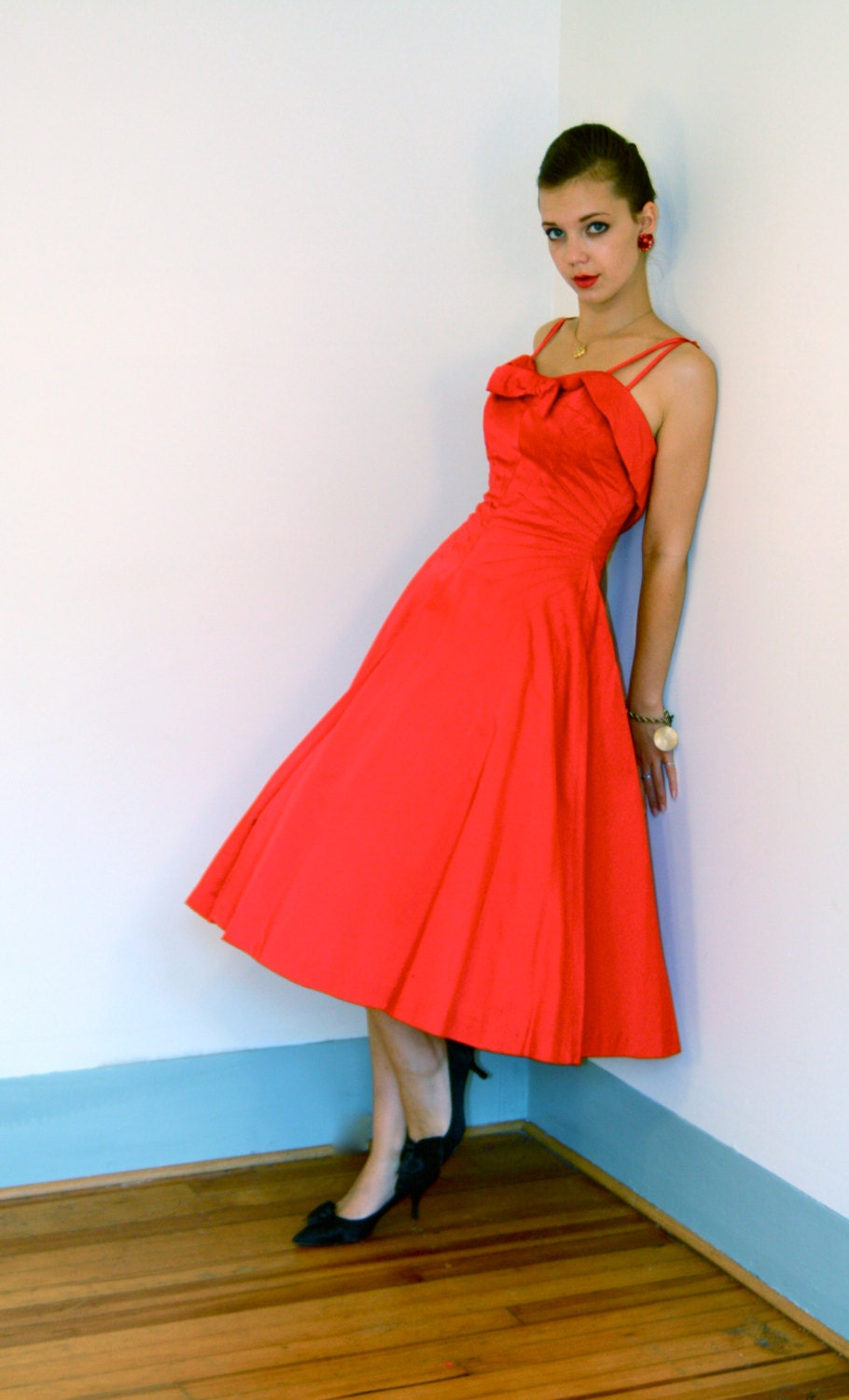 Vintage 1950s Fancy Red Satin Party Dress Full Sweep Circle Skirt Spaghetti Strap Sweetheart neckline 50s New Look Cocktail Frock - posiesforlulu