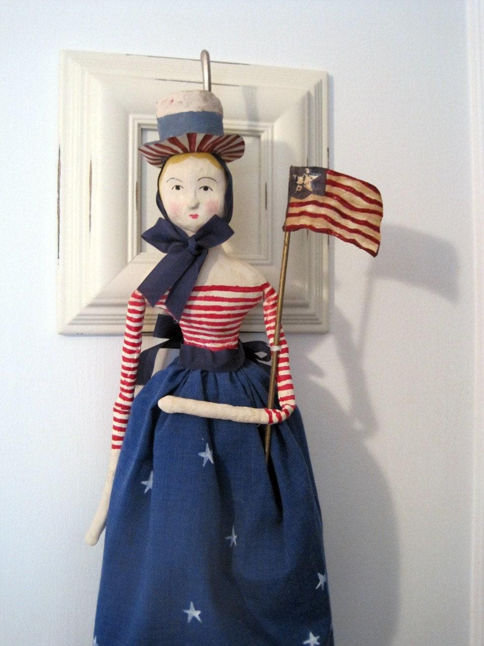 Folk art doll Americana patriotic