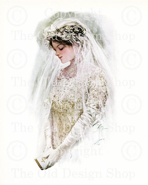 THE BRIDE Harrison Fisher Vintage Wedding Image for Card Making Altered Art Mixed Media Scrapbooking Digital Download 002