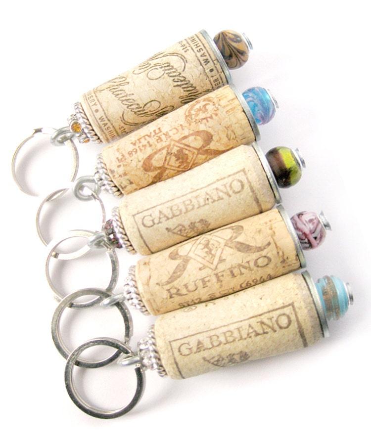 Wine cork keychain - lizkingdesigns