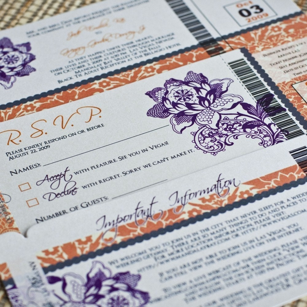 Deposit - Boarding Pass Invitation (Damask and Floral, Orange / Purple)