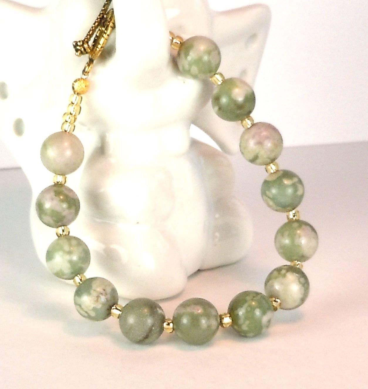 Agate Beaded Bracelet - Seed Beads - Toggle Clasp - BeadingDerby