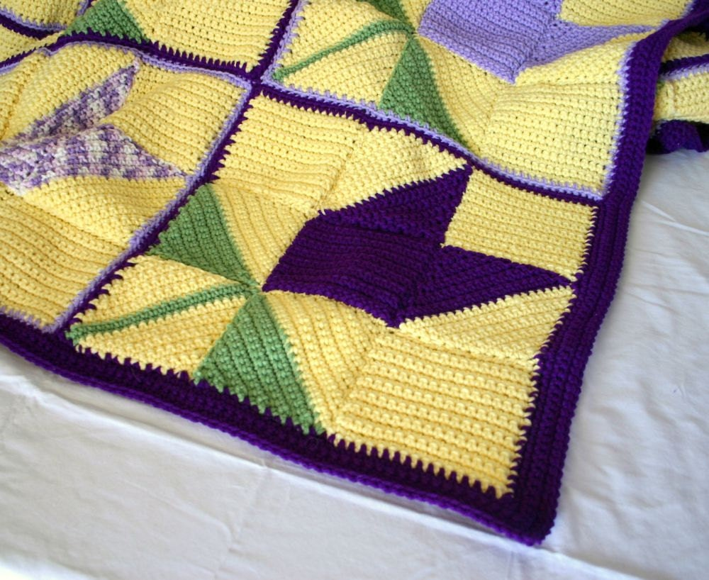 Crochet afghan large flower blanket tulip throw purple yellow green bedding spring home decor granny squares pretty