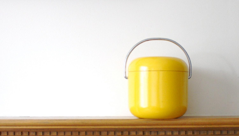 Vintage Mod Ice Bucket in yellow mid century modern, atomic - pulloverthecar