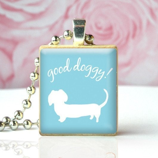 GOOD DOGGY (Dachshund) - Scrabble Tile Pendant