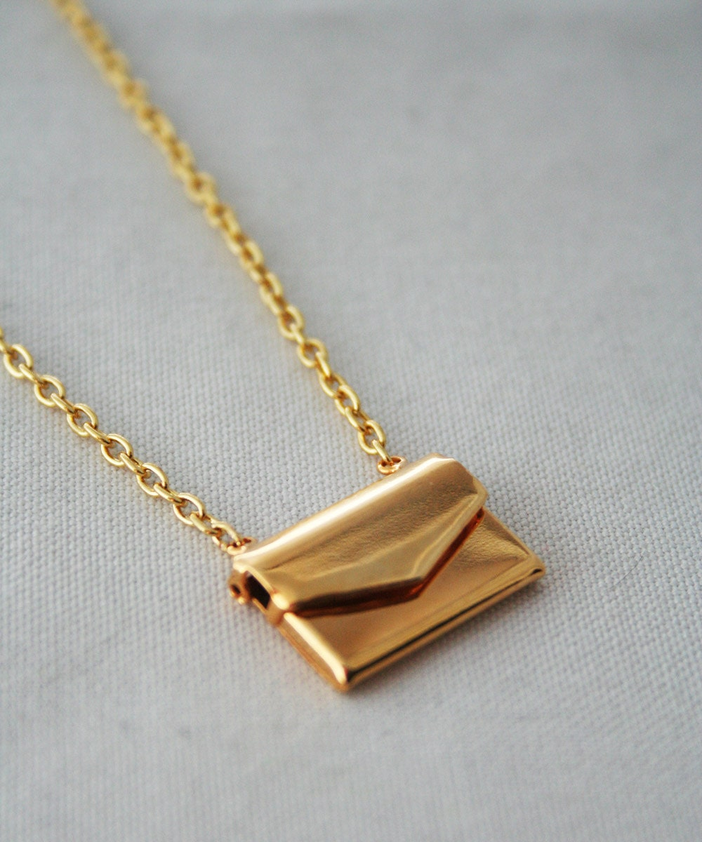 gold envelope letter necklace love letter brass by With envelope necklace with letter
