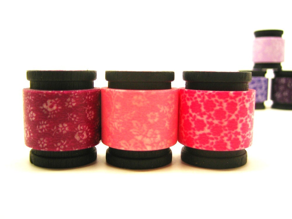 Floral Washi Tape Trio Set - Bordeaux RED Coffret du Couturier (5 feet each, 15 feet total)