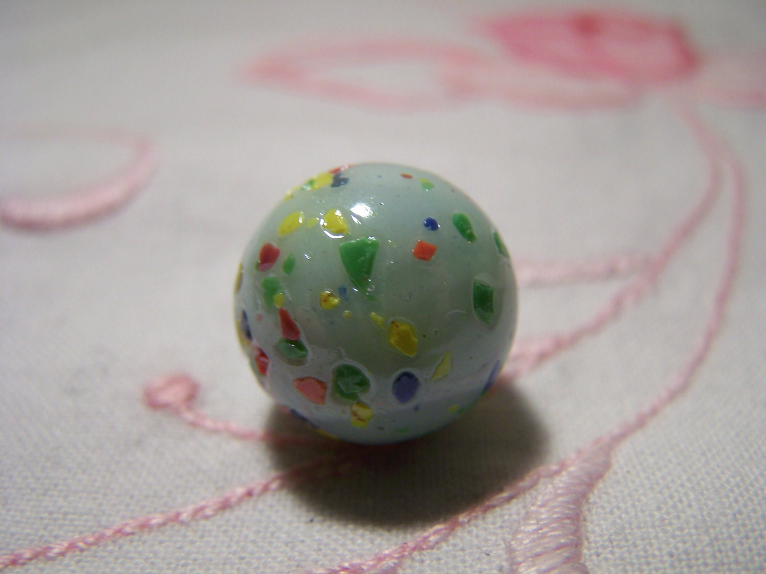Green Marble Toy : Vintage light green speckled glass marbles