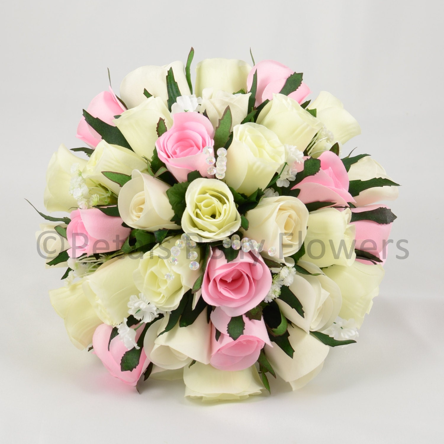 Artificial Wedding Flowers Baby Pink  Ivory Rose Brides Bouquet Posy