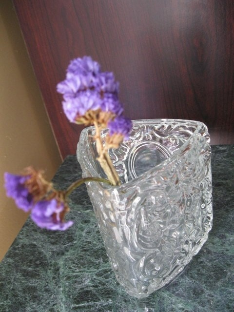 Avon Triangular Crystal Glass Vase