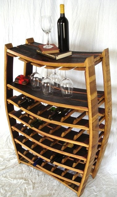 large 100% recycled wine rack made from old Napa barrels