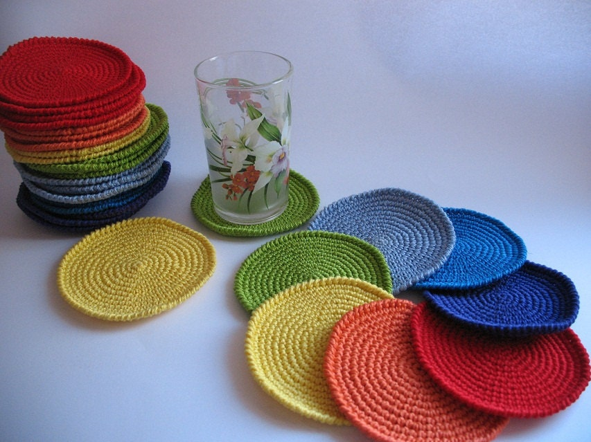 Crochet Coasters Rainbow Set of 7 Drink Mats by ninellfux