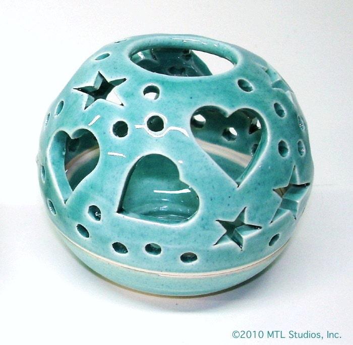 Robin's Egg Blue ceramic Night light THE ORIGINAL Heart Candileria Luminary / Handmade Ceramics - blueroompottery
