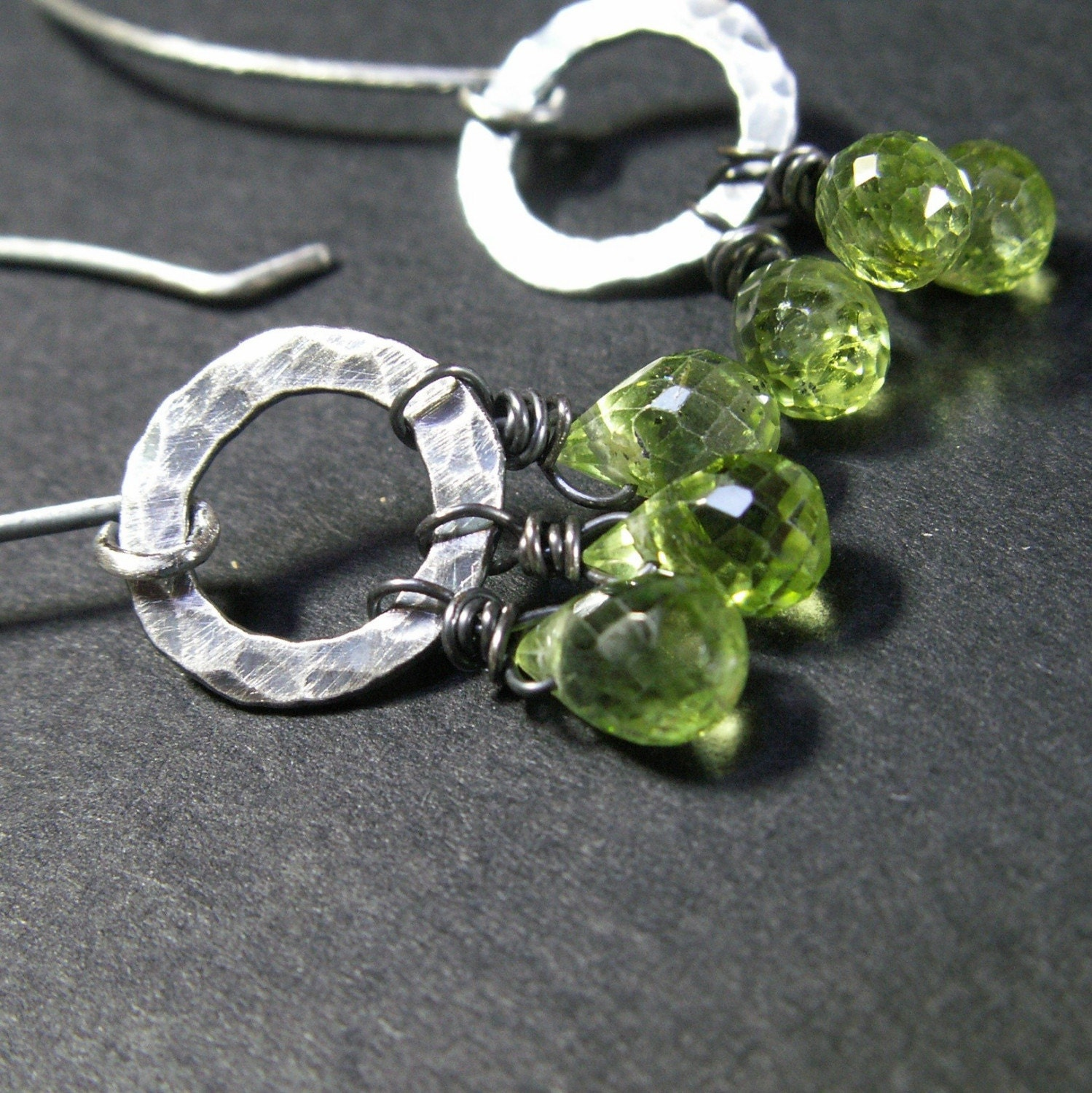 handmade jewelry earrings sterling silver peridot