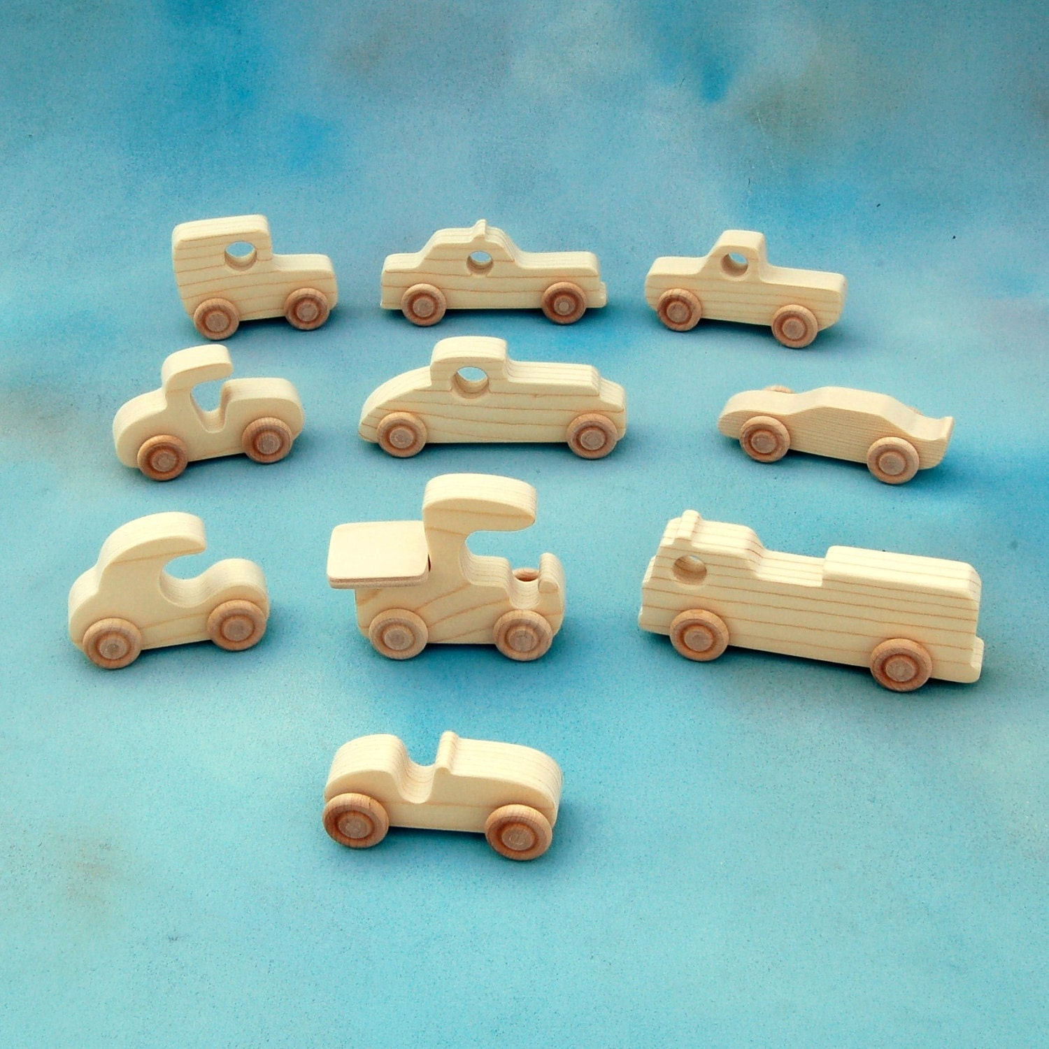 Wood Toy Cars and Trucks - Set of 10 Natural Wooden Toy Vehicles ...