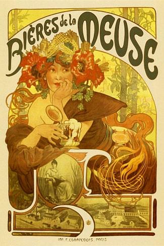 Bieres de la Meuse Poster 24x36 Mucha Art Nouveau Beer Ad 1897 - BubbleRoll