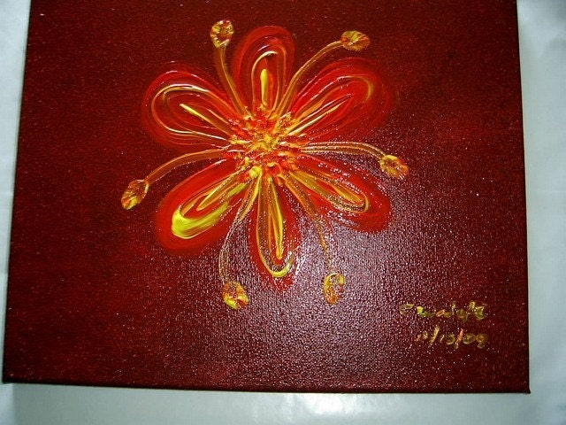 Simply Floral -- 11x14 original OOAK acrylic  painting on canvas reds rust FREE USA SHIPPING