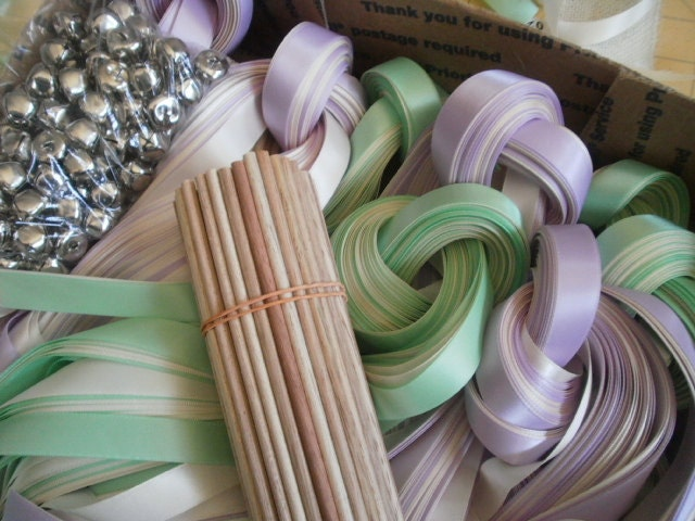 25 DIY Ribbon Wedding wands , Listing for 25 Satin Ribbon Wands, Two ...
