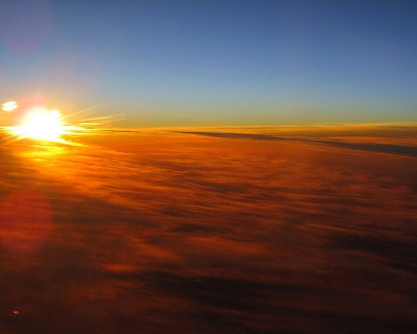 Picture of a Sunrise from a Plane. 8x10 Affordable Fine Art Photography. Stunning Winter Sunrise with Bright Bold Colors.