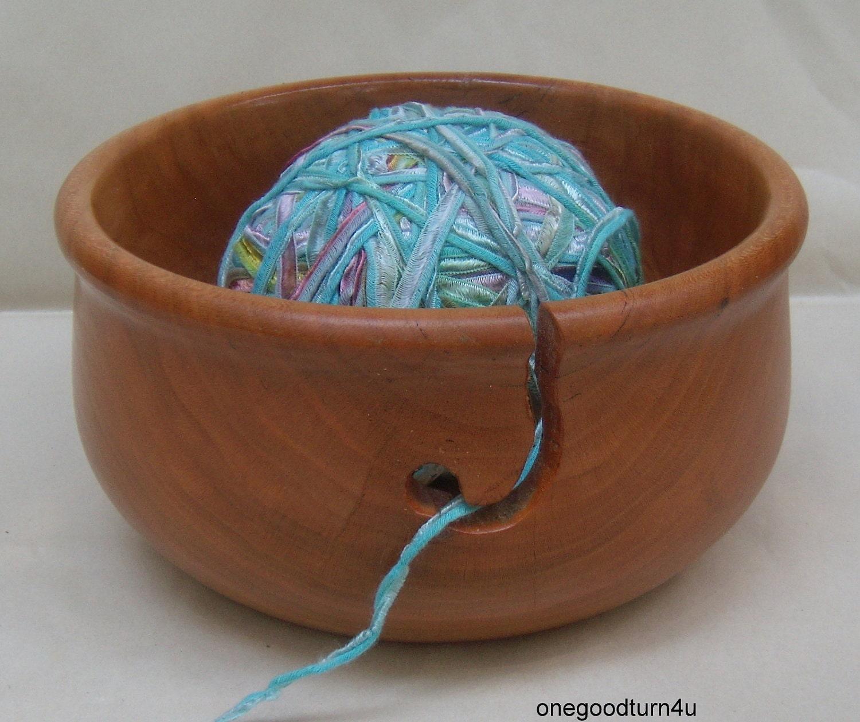 Knitting Bowls Wood : Wooden yarn bowl cherry woodturning knitting by onegoodturn u