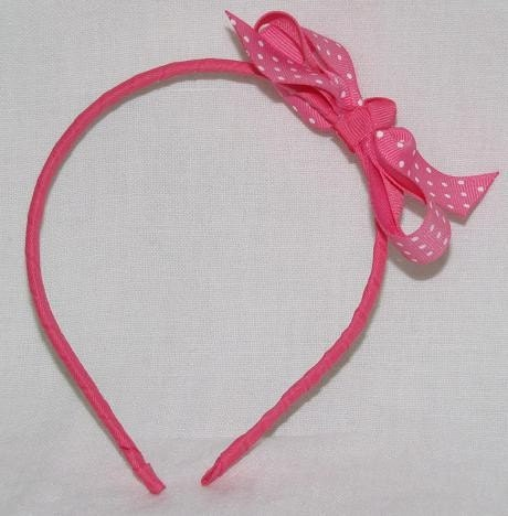Bright Pink Swiss Dot Grosgrain Headband