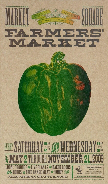 FARMERS MARKET Bell PEPPER Hand Printed Letterpress Poster - PioneerHouse