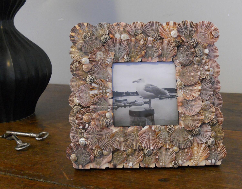 Seashell фоторамки ручной работы с необычными снарядами из Мексики 8 на 8 дюймов - LA BOQUITA