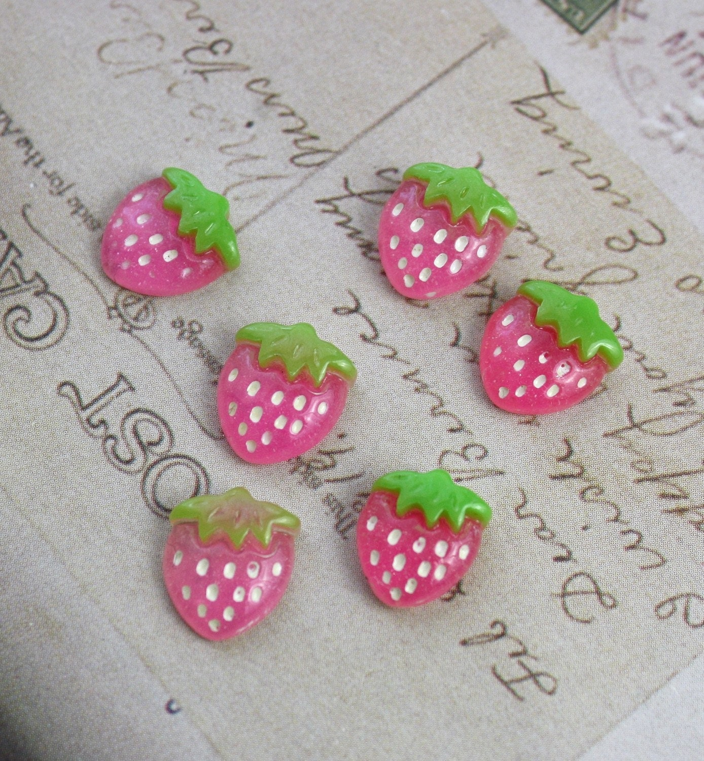 10 Plastic Resin Pink Strawberry Cabochons 10x13mm
