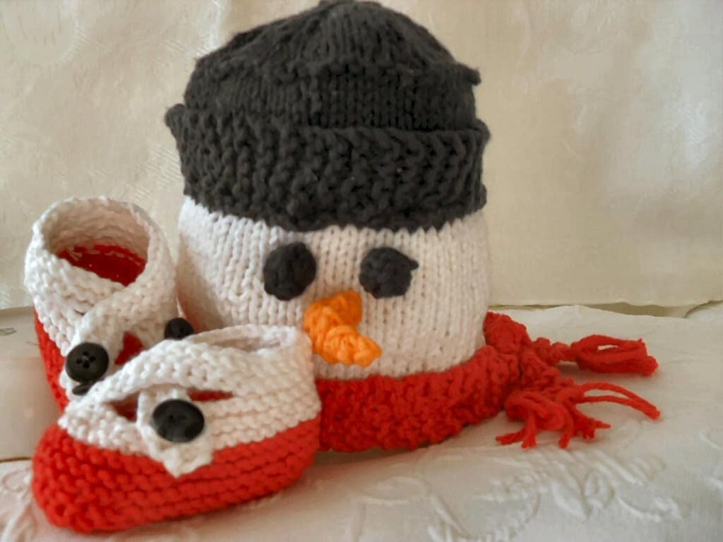 HAND KNITTED SNOWMAN Baby hat with Matching Cross-strapped Booties