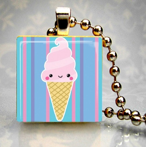Cute Ice Cream Cone Wood Tile Domed Resin Pendant BUY 2 GET 1 FREE (4437)