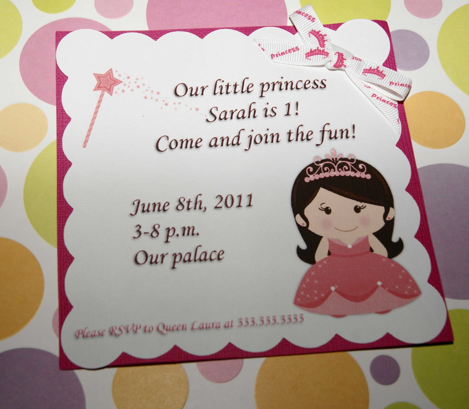 Little Princess Personalized Birthday Invitation, Girl, Pink, Crown, Princess Party - Set of 12