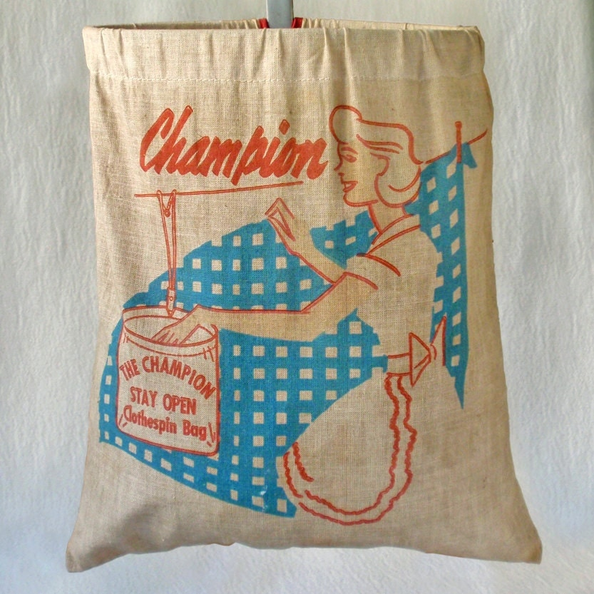 Vintage 50s clothespin bag champion clothespin by rattyandcatty