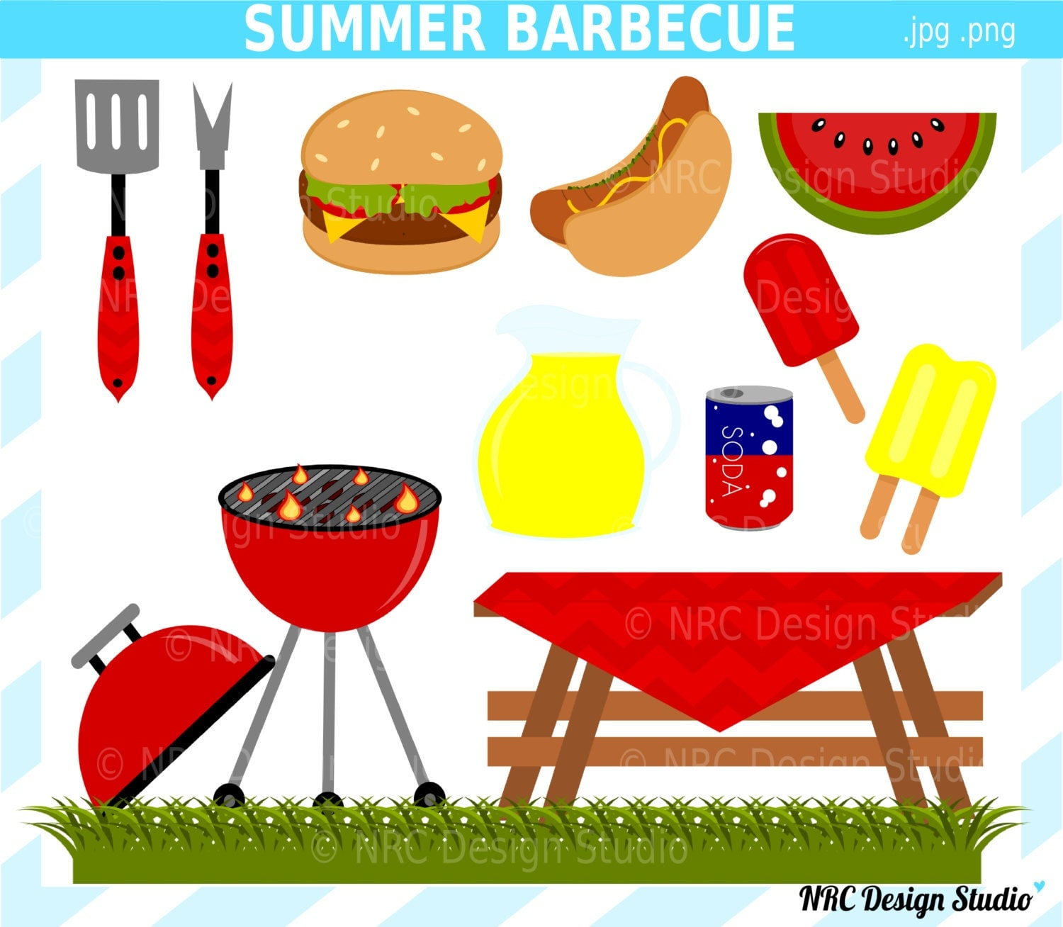 Barbecue Party Clip Art - Digital Barbecue Clipart - Cute, Food, Grill ...
